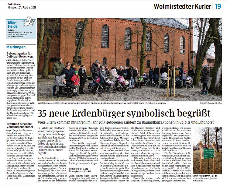 35 neue Erdenbürger symbolisch begrüßt